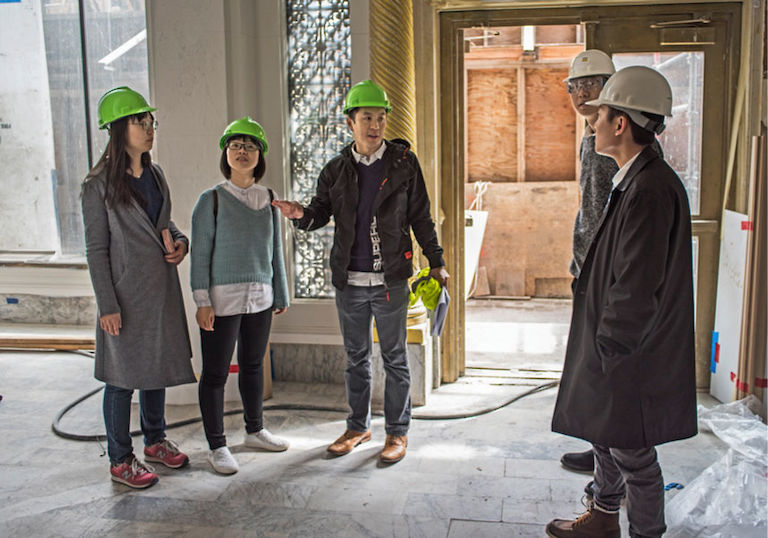 HWI designers tour the San Francisco Proper Hotel during construction.